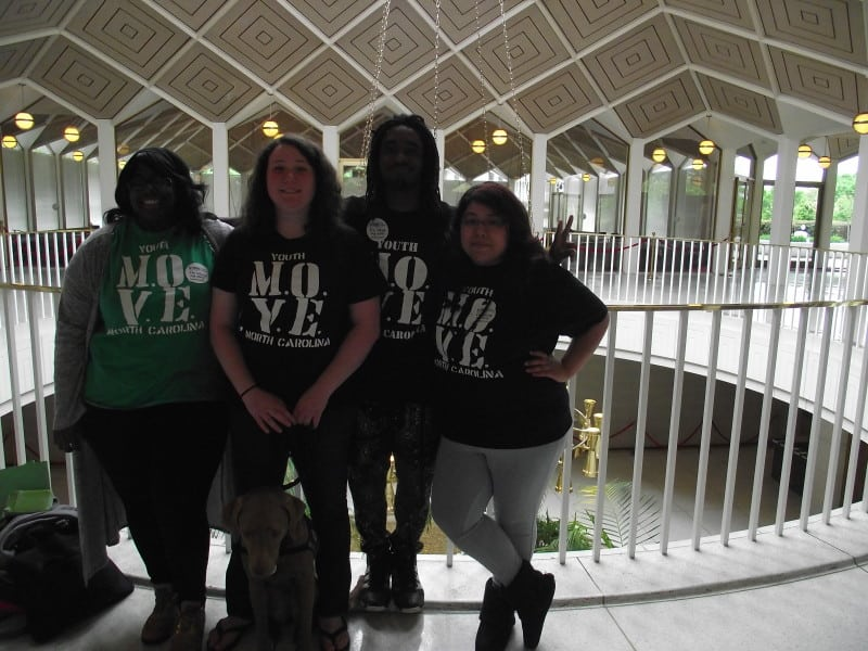 (L to R) Niketa Currie, Ariel Wolf, Camaron Freemon, Veronica Arias - Members of Youth M.O.V.E. come to the General Assembly to advocate for changes in mental health treatment in the school system.