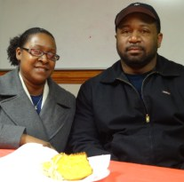 """Kaysha Pettaway at a Family Support Network support group meeting with her husband, David, says, """"Everything I find out now is from this group.' Photo credit: Taylor Sisk"""