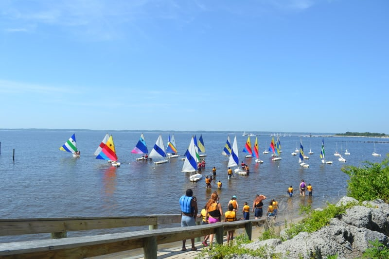 A group of Camp Hope campers prepare to set sail for the first time.