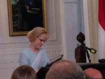 HHS Sec. Aldona Wos prepares to make her resignation speech at the Governor's mansion Wednesday morning.
