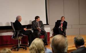 Sen. Bill Rabon (R-Southport), right and Rep. Nelson Dollar (R-Cary), center, speak with Eli Lilly executive Daniel Wahby during a panel discussion at the N.C. Biosciences Organization Annual Meeting on Thursday.