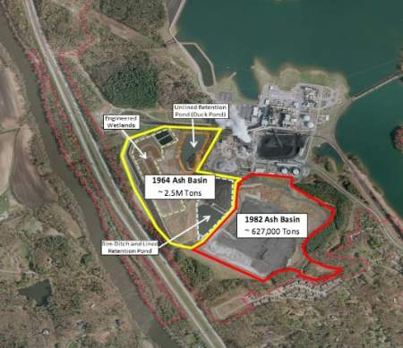 Duke Energy's Asheville Steam Electric Generating Plant coal ash ponds. The DEQ has ranked the ponds as risk.
