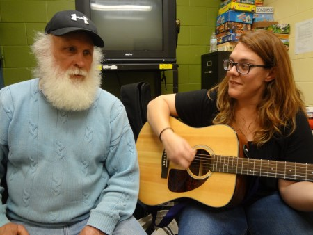 Richard Miller, a resident of Hospitality House of Boone, composes songs with Cindy Morris. Photo credit: Taylor Sisk