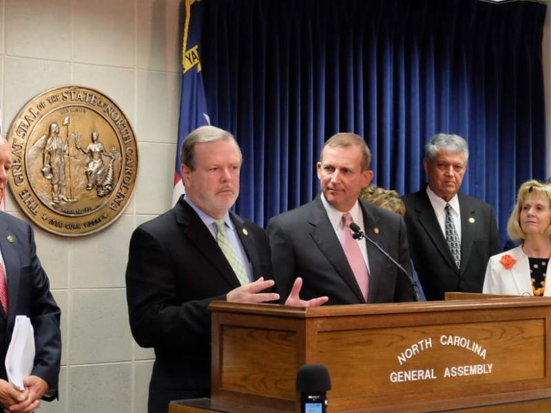 Senate President Pro Tempore Phil Berger (R-Eden) and Senate Majority Leader Harry Brown (R-Jacksonville) present their chamber's budget Tuesday.