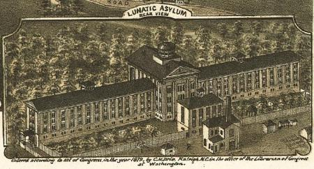 "In an 1872 ""Bird's Eye View"" of Raleigh, the Dix Hill Asylum (now Dix Hospital) was labeled simply ""Lunatic Asylum."" Image courtesy LEARN NC, UNC School of Education."