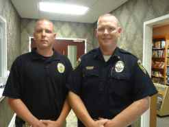 Chief Brad Shirley (right) of the Boiling Spring Lakes, North Carolina, Police Department sent Corporal Thomas Moore to Seattle to see the Law Enforcement Diversion program in action. Boiling Springs Lakes, a town of 6,000 in eastern North Carolina, is investigating a rural version of the urban-tested program.