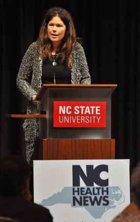 Mebane Rash, head of EducationNC, speaks to the Lives on the Hill event Sunday. In her previous work at the North Carolina Center for Public Policy Research, Rash did extensive research on the history and current needs of the mental health system in North Carolina. Photo credit: Karen Tam