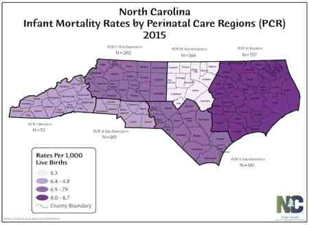 Because some counties have so few births, state statisticians group together infant mortality data by region in order to get a more accurate picture of the trends.