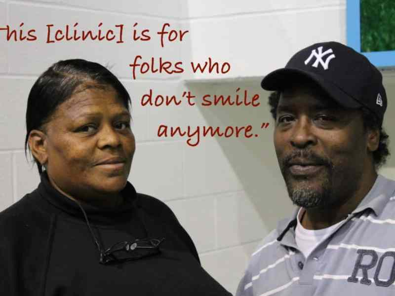 """Two people who attended a Missions of Mercy clinic told the students the clinic """"is for people who don't smile any more."""""""