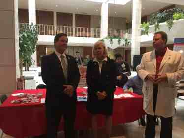 Rep Becky Carney (R-Charlotte), center, does introductions during the Hypertension Awareness Day event at the NC General Assembly. She's joined by Rep. Larry Yarborough (R-Roxboro) and Dr. Forrest. Photo credit: Leah Asmelash