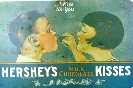 shows a vintage advertisement for Hershey's kisses