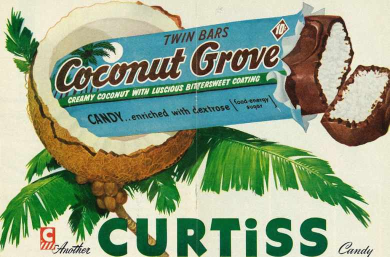 shows vintage advertisement for coconut chocolate ber