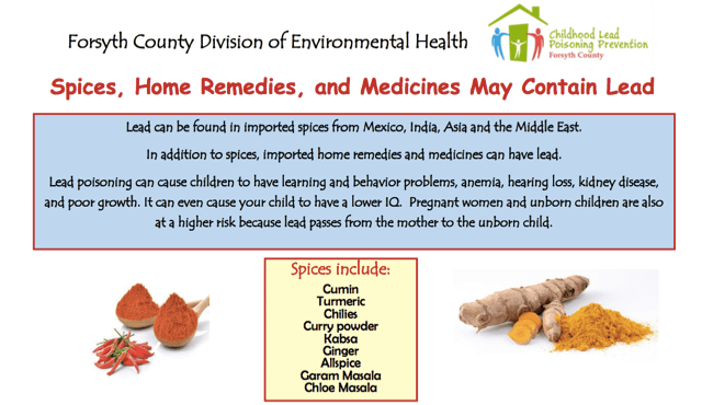 POster containing information about spices, home remedies and medicines that may contain lead.