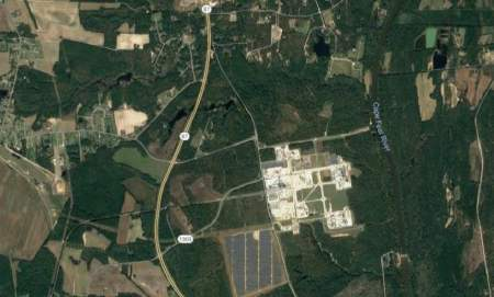 shows screen shot of a google satellite image of the Chemours plant, the main source of GenX contamination in eastern North Carolina