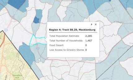 screen shot of a small segment of MEcklenburg where there were fewer social determinants of health factors that impede residents from being healthy