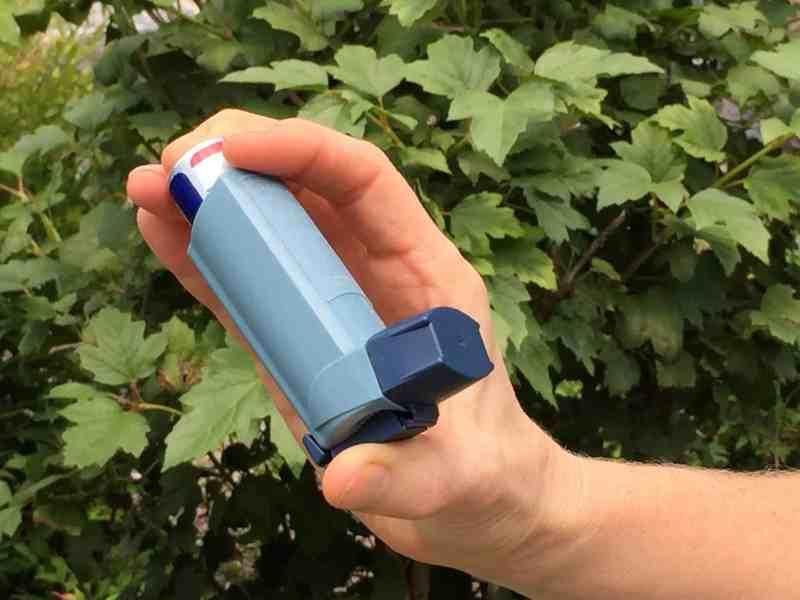 a person holds an asthma inhaler
