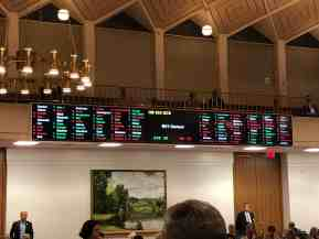 shows photograph of the voting tally board in the House of Representatives