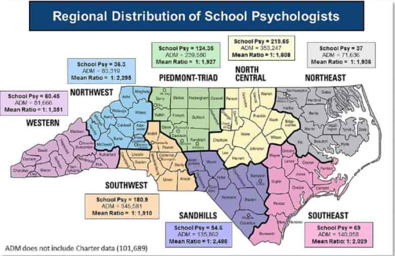 map shows where school psychologists are working in North Carolina