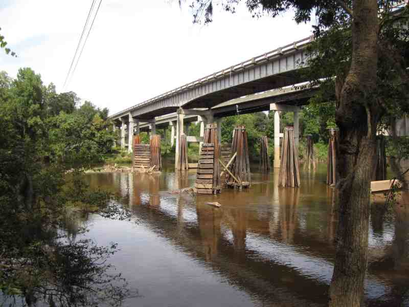 shows a bridge over the Cape Fear River, photo taken at the level of the water. GenX has been contaminating the river with PFAS for years, it's been revealed.