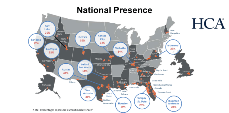 map represents HCA's market share of various states