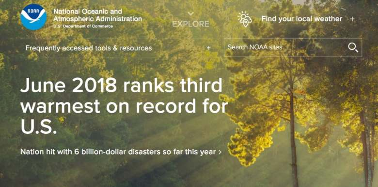 screenshot of a website reading: June 2018 ranks third warmest on record for US