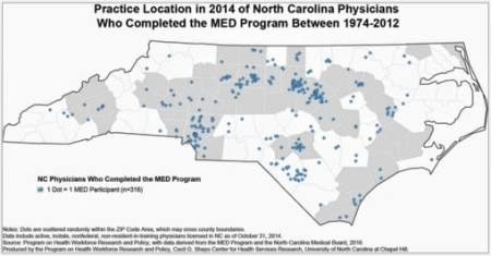 Map shows the locations across North Carolian where graduates of the MED program are currently practicing