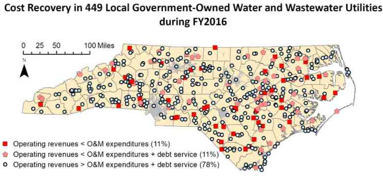 map shows location of many water treatment utilities around the state which have operating revenues less than expenditures. some of the systems are also in mountain communities, in addition to being clustered in Eastern North Carolina