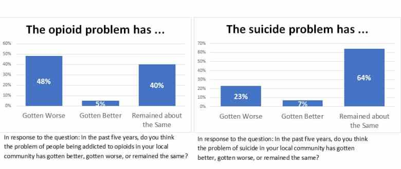 """shows side by side bar graphs titled: """"the opioid problem has..."""" and """"the suicide problem has..."""""""