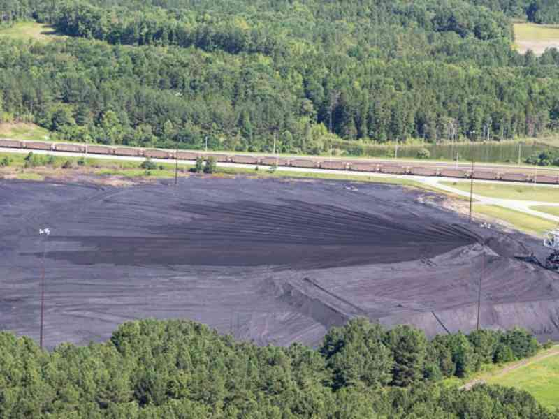 shows a large coal ash landfill with a dressed surface