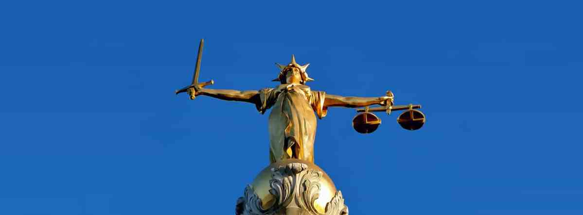 shows image of Lady Justice from the Old Bailey in London