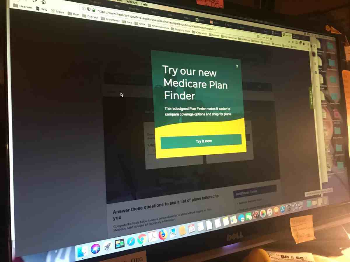 Shows the computer home page for people to choose a Medicare plan