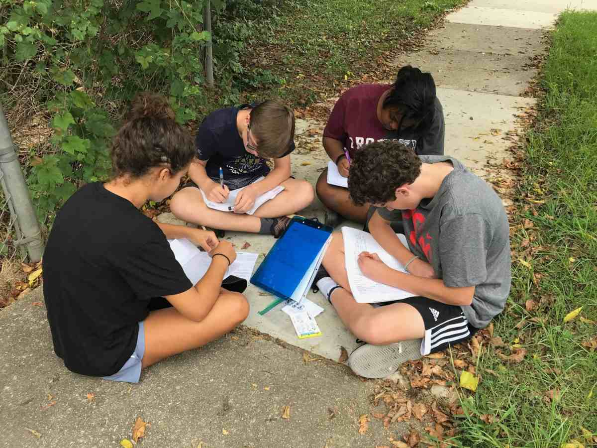 Several students sit on a sidewalk, they are all working on a PFAS project together
