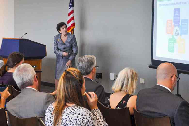 birnbaum stands at the front of a room of people, she's talking ant presenting a powerpoint