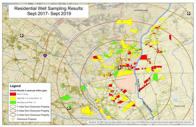 A map of parcels with contaminated well water around the Chemours plant.