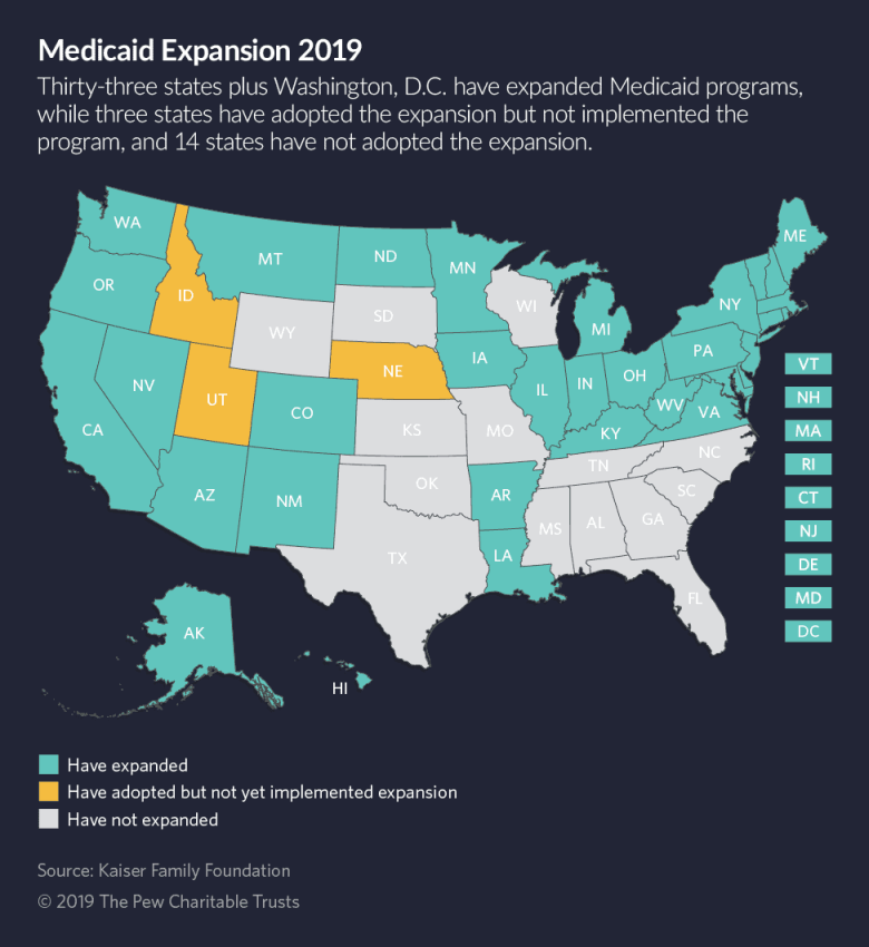 A map of the 14 states did not expand Medicaid