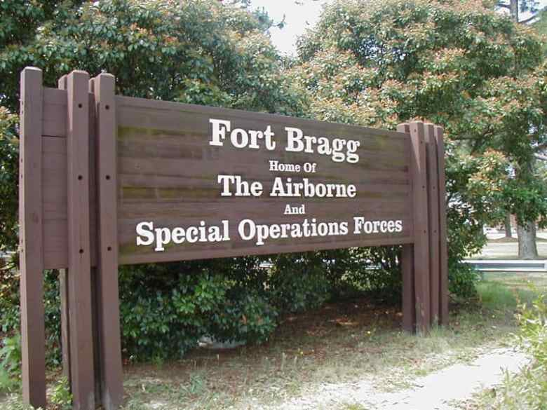 Sign at the entrance of Ft. Bragg