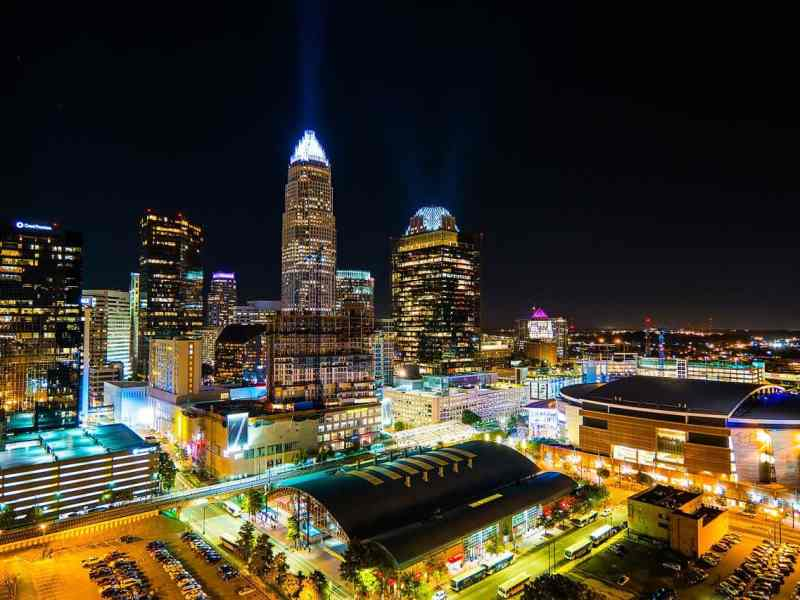 shows charlotte at night, where providers are collecting personal protective equipment in the middle of the COVID-19 pandemic.