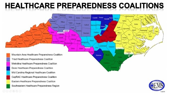 A map of the eight healthcare preparedness regions in North Carolina. Each region has a team that can respond should disaster strike.