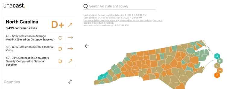 A map of North Carolina Counties