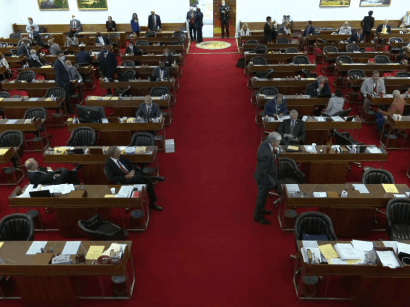 The House of Representatives at his podium during the COVID session