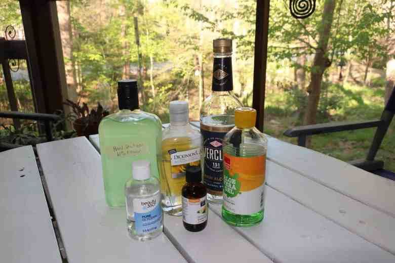 shows alcohol used for making home made hand sanitizer