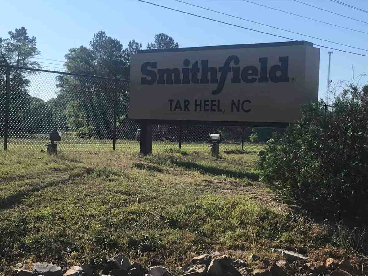 The Smithfield Food's hog-processing plant in Tar Heel appeared to be operating as usual on Tuesday, April 28, 2019. Photo credit Greg Barnes