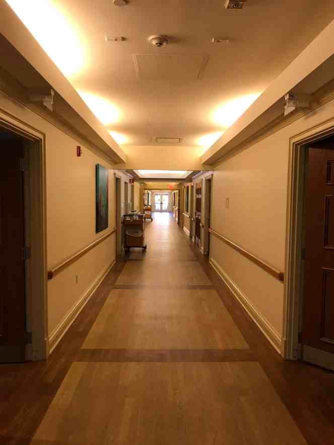 An empty hallway at a hospice facility