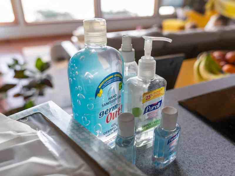 Bottles of hand sanitizer to illustrate the shortage that coronavirus caused