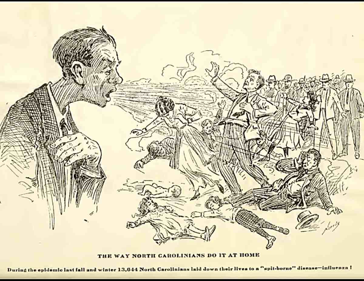 Editorial cartoon from the early 1900s shows a man with Spanish influenza sneezing, and people in front of him falling down sick.