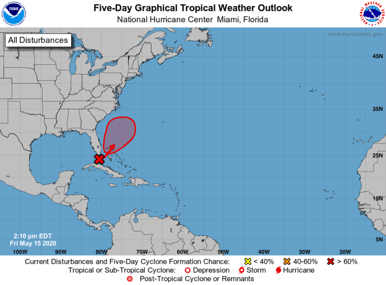 National Hurricane Center image of a tropical storm developing off of the Florida coast in the Atlantic.