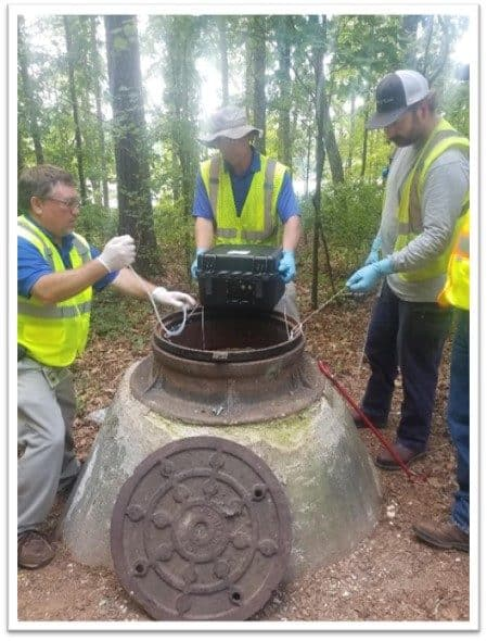 Cary workers, from left, Mark Lovitt, Gerald Mitchell and Rob Garner, drop Biobot equipment into a sewer in 2018 to sample for opioids. The city is using similar technology today to test for the coronavirus: Photo credit: City of Cary.