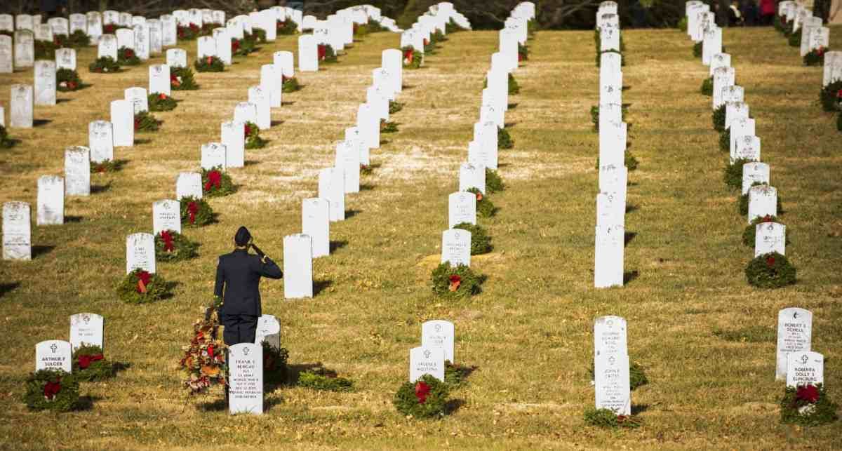shows rows of headstones in a veterans cemetery