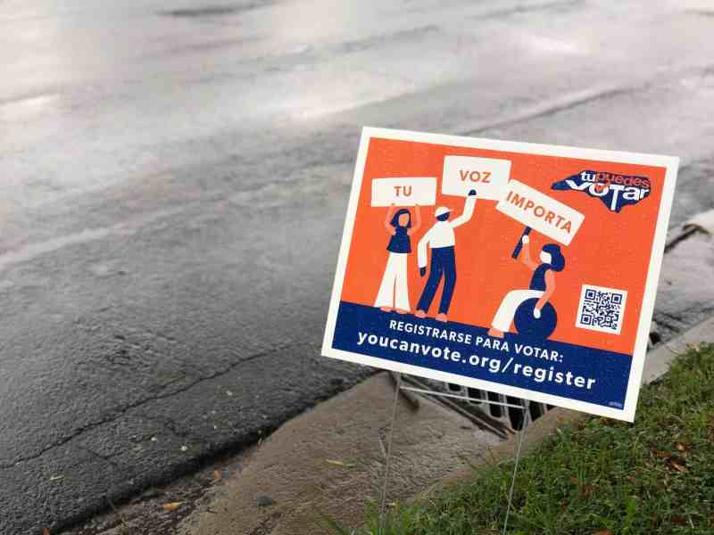 """We see a sign that reads, """"Tu Voz Importa,"""" posted on the grass along a road in Charlotte, North Carolina, on September 13."""