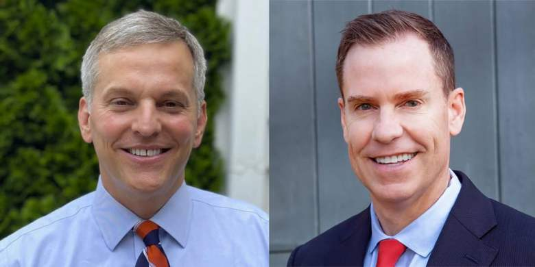 Shows two smiling white men wearing formal shirts and ties. They're both running for attorney general of North Carolina in a state race.